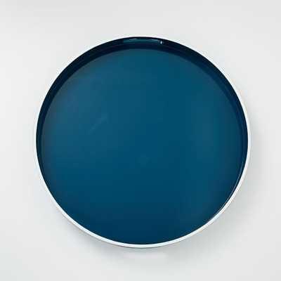 White Rim Lacquer Tray - Round - Thai Blue - West Elm