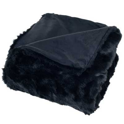 Faux Fur Throw Blanket - Black - AllModern