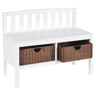 Hampton Storage Bench with Rattan Baskets - Wayfair