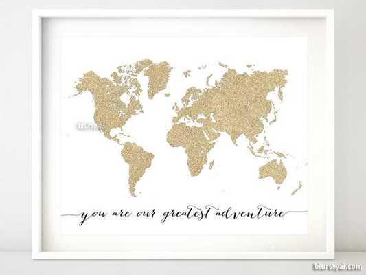 """Gold glitter world map print - 20"""" x 16"""" unframed - shop.com"""