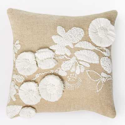 """Shadow Frond Pillow Cover - White/Natural - 18""""sq.- Insert Sold Separately - West Elm"""