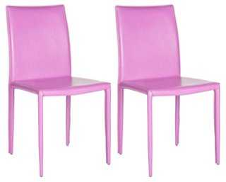 Purple Leather Caldwell Chairs - One Kings Lane