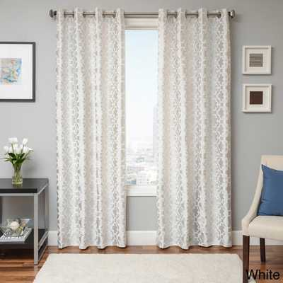 "Peyton Tile Woven Jacquard Grommet Top Curtain Panel - 96"" x 55"" - Overstock"
