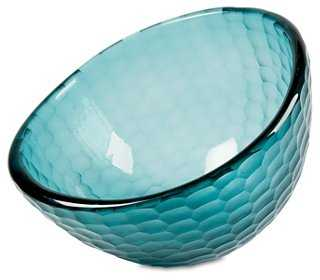 "15"" Deep Glass Bowl, Teal - One Kings Lane"