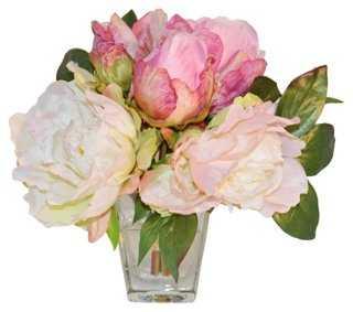 "9"" Peony Arrangement in Vase, Faux - One Kings Lane"