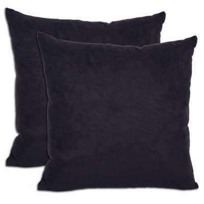 Black Microsuede Throw Pillows - 18x18 - With Insert - Overstock