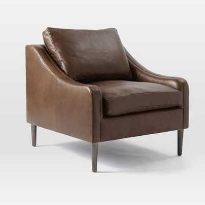 Lindrum Leather Armchair - Semi Aniline Leather, Clove - West Elm