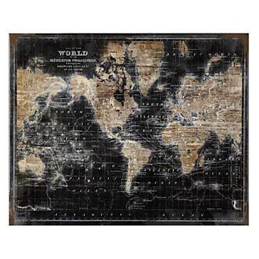 "Golden World Map - Glass Coat-40"" x 30""-With Frame - Z Gallerie"