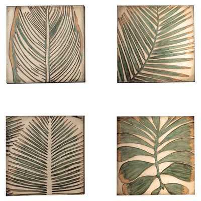 "Palm Leaf Graphic Art on Plaque - 12"" H x 12"" W x 1.2"" D- Unframed - Wayfair"