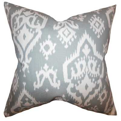Baraka Ikat Gray Feather Filled 18-inch Throw Pillow - Overstock