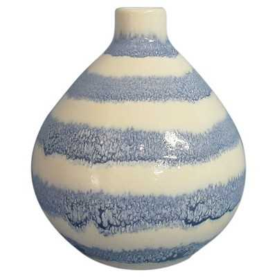 Stoneware Reactive Glaze with Handpaint Stripes Vase - Blue - Target