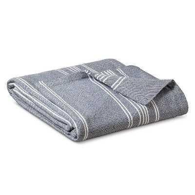 Yarn Dye Stripe Ringspun Cotton Blanket - Metallic Blue - Target