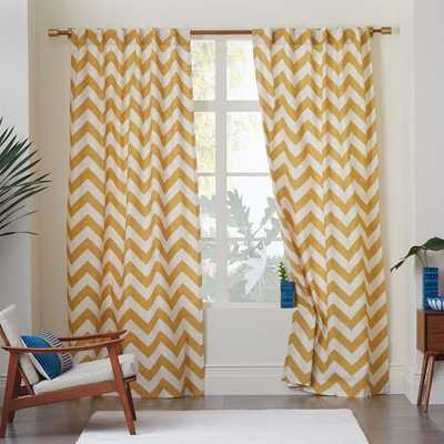 "Cotton Canvas Zigzag Curtain - Maize-96"" - West Elm"