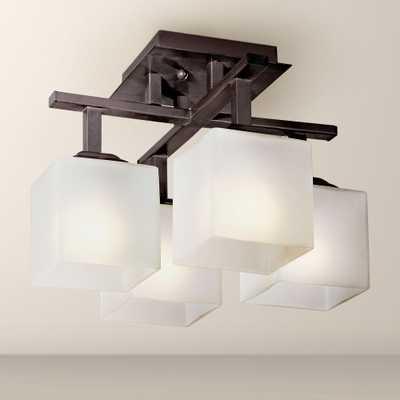 "Conde Square 15"" Wide Bronze Finish Ceiling Fixture - Lamps Plus"