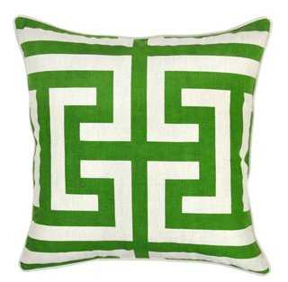 Geo  Cotton Pillow, Green - One Kings Lane
