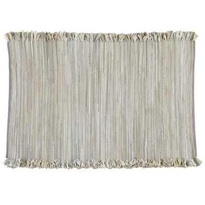 8 x 10' Grey Ribbon Cutting Fringe Rug - Land of Nod