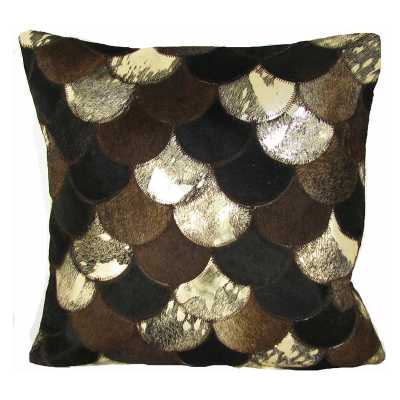 Design Accents Sunray Leather Pillow - 20L x 20W  Brown/Gold - Hayneedle
