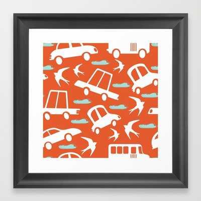 Cars and swallows - 12x12 - Framed - Society6