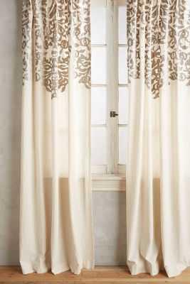 """Vining Velvet Curtain - 63"""" x 50"""" - Grey - Anthropologie"""