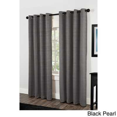 """Raw Silk Thermal Insulated Grommet Top Curtain Panel Pair - 84"""" L x 54"""" W - Overstock"""