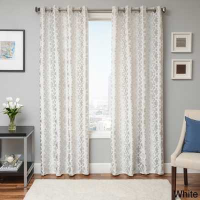 "Peyton Tile Woven Jacquard Grommet Top Curtain Panel - 84"" x 55"" - Overstock"