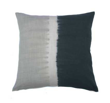 """Tie Dye Halves Pillow - Grey Charcoal- 20"""" L X 20"""" W X 3"""" H- insert: feather - Domino"""