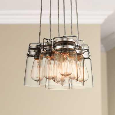 "Kichler Brinley 12"" Wide Brushed Nickel 6-Light Pendant - Lamps Plus"