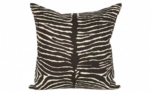 ZEBRA LINEN PILLOWS - CHOCOLATE - 22x22 - Down and Feather insert - Jayson Home