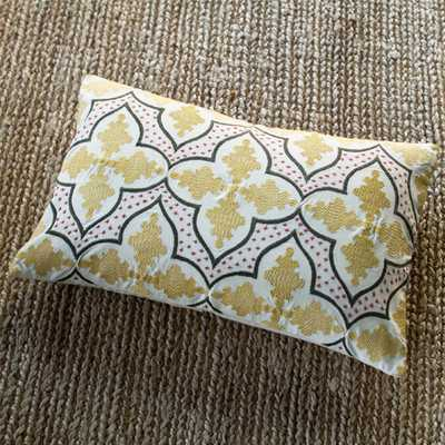 "Andalusia Cotton Lumbar Pillow-16""x 24""-Insert-Yellow - Wayfair"