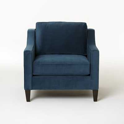Paidge Chair-Performance Velvet-Ink Blue-Poly-Fill-Taper Chocolate - West Elm