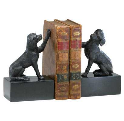 Humphrey Labrador Retriever Dog Iron Marble Bookends - Kathy Kuo Home