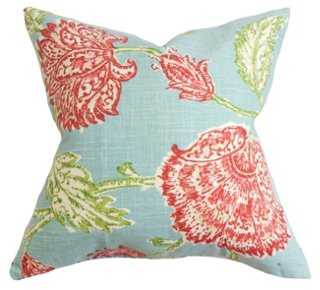 Floral 18x18 Linen-Blended Pillow, Aqua - One Kings Lane