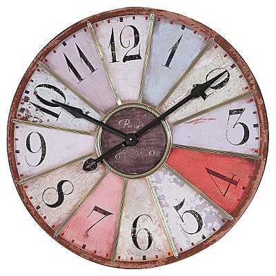 Round Wood Clock with Metal - Target