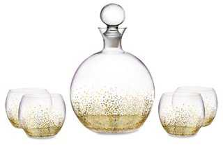 5-Pc Luster Decanter Set, Gold - One Kings Lane