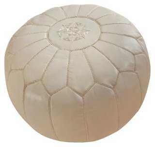 Moroccan Leather Pouf, White - One Kings Lane