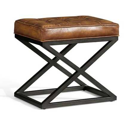 Kirkham Tufted Leather X-Base Stool - Pottery Barn