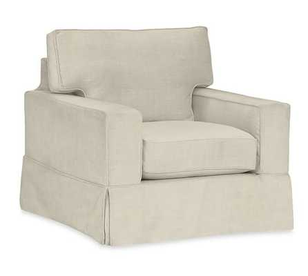 PB COMFORT SQUARE ARM SLIPCOVERED SWIVEL ARMCHAIR - Pottery Barn