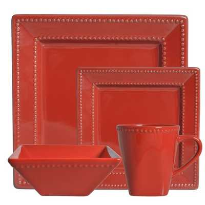 Vivo Red Beaded Square 16-piece Dinner Set - Overstock