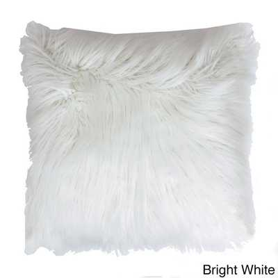 """Keller Faux Mongolian Square Throw Pillow-16""""x16""""-Bright White-Polyster insert - Overstock"""