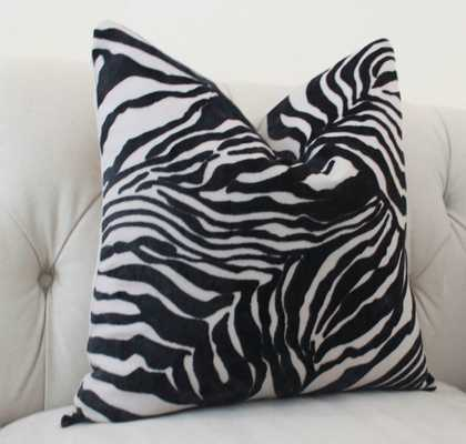 "Modern Black Zebra Print Velvet Pillow Cover - 18''x 18"" - Insert sold separetely - Etsy"