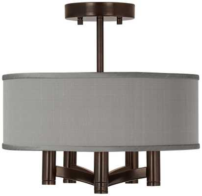 Gray Faux Silk Ava 5-Light Bronze Ceiling Light - Lamps Plus