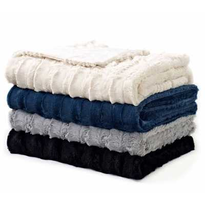 Luxe Embossed Faux-Fur Throw - Overstock