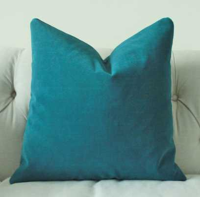 "Decorative Teal Blue Pillow - 18"" x 18"" - Insert is not included - Etsy"