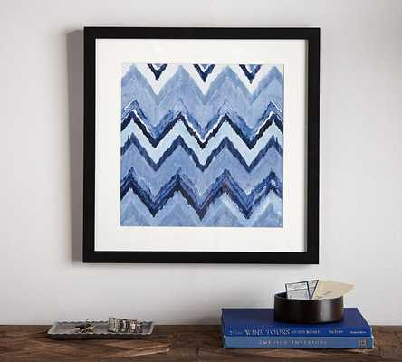 "INDIGO IKAT FRAMED PRINTS - Chevron-21"" wide x 21"" high x 1.25"" thick- Framed (Black matte painted) - Pottery Barn"