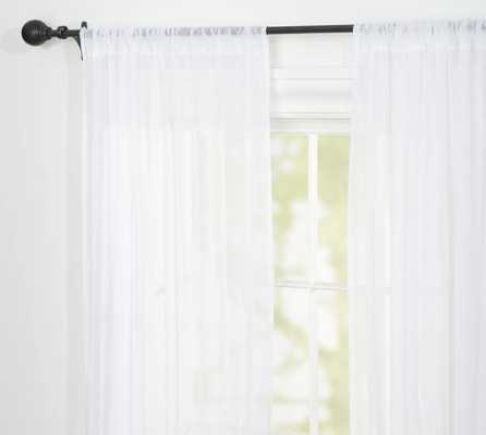 "Voile Sheer Drape, 50 x 84"" Pole Pocket, White - Pottery Barn"