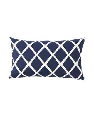 "Diamond Lumbar Pillow Cover - 12"" x 21"" - Navy - Serena and Lily"
