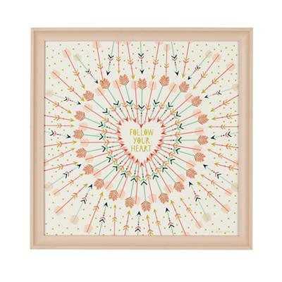 Arrow Heart Wall Art - 16x16 - Framed - Land of Nod
