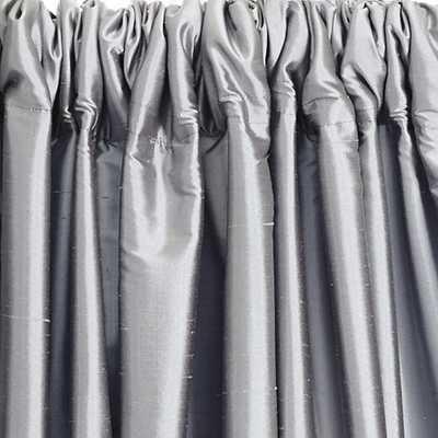 "Dupioni Silk Drapery Panel - Pewter, 108""L - Ballard Designs"