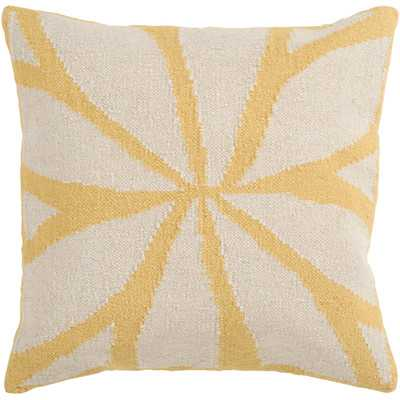 "Lush Leaf Throw Pillow-Yellow/Ivory-18""x18""-Down Insert - Wayfair"