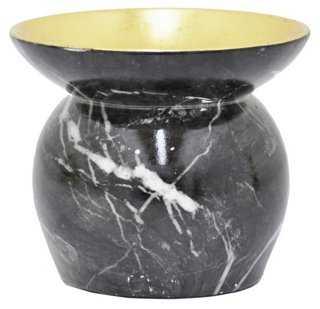 Marbleized Candleholder, Dark Gray - One Kings Lane